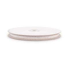 Κορδέλα γκρο λευκή με ραφή 10mmX25μ