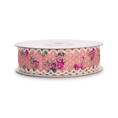 Κορδέλα ροζ εμπριμέ φλοράλ δαντέλα 25mm 10μ