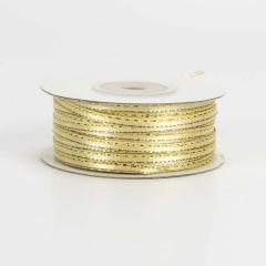 Κορδέλα σατέν χρυσαφί με μεταλλιζέ ραφή 3mmX90m