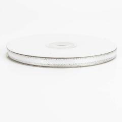 Κορδέλα σατέν ασημί μεταλλιζέ ραφή 6mmX45m