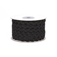 Κορδέλα ζικ ζακ μαύρη 5mm 45m