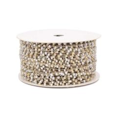 Κορδόνι με χάντρες λευκό εκρού 2,5mmX10m