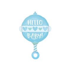 Μπαλόνι foil Κουδουνίστρα Baby Boy 60cm