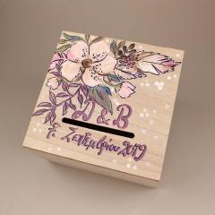 Κουτί ευχών γάμου ξύλινο λιλά φλοράλ