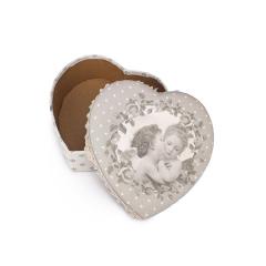 Κουτί καρδιά βαμβακερό με άγγελο 19x7εκ