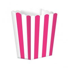 Κουτί pop corn ριγέ φούξια 5τμχ