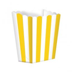 Κουτί pop corn ριγέ κίτρινο 5τμχ