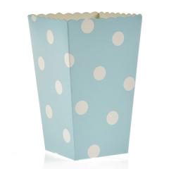 Κουτί pop corn πουά σε χρώμα σιέλ