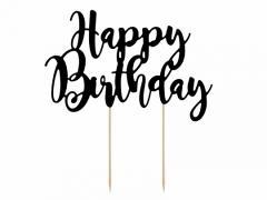 Διακοσμητικό τούρτας Happy Birthday μαύρο