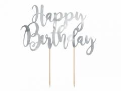 Διακοσμητικό τούρτας Happy Birthday ασημί