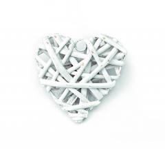 Ξύλινη καρδιά μπαμπού λευκή 25x25εκ