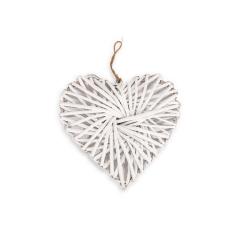 Ξύλινη καρδιά πλεκτή λευκή 20x20x9εκ