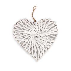 Ξύλινη καρδιά πλεκτή λευκή 30x30x8εκ