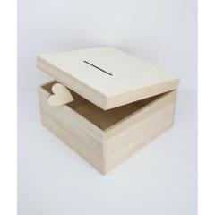 Ξύλινo κουτί ευχών σε φυσικό χρώμα