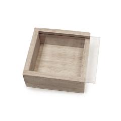 Ξύλινο κουτί τετράγωνο με πλεξιγκλάς 7εκ