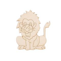 Ξύλινο lasercut λιοντάρι 13x9εκ 2τεμ