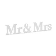 Ξύλινο διακοσμητικό Mr & Mrs λευκό