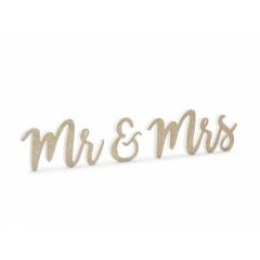 Ξύλινο διακοσμητικό Mr&Mrs χρυσό γκλίτερ