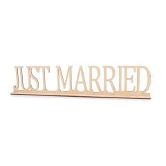 Ξύλινο σταντ Just Married 60x12εκ