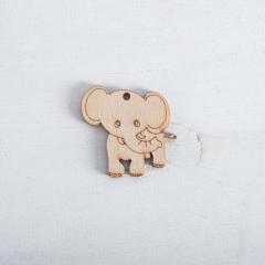 Ξύλινο διακοσμητικό ελεφαντάκι 50x50mm 5τεμ