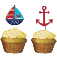 Χάρτινα toppers για cupcakes Ahoy Matey 12τεμ.
