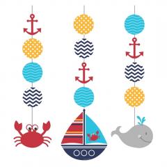 Κρεμαστά διακοσμητικά Ahoy Matey 3τεμ.