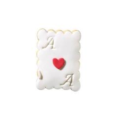 Μπισκότο τραπουλόχαρτο με μονογράμματα και καρδούλα