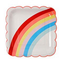 Χάρτινο πιάτο φαγητού με θέμα Rainbows & Unicorns Meri Meri