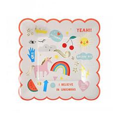 Χάρτινο πιάτο γλυκού με θέμα Rainbows & Unicorns Meri Meri