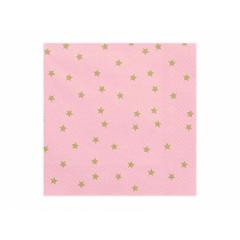 Χαρτοπετσέτα ροζ με χρυσαφί αστέρια 20τεμ