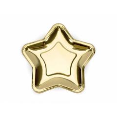 Χάρτινο πιάτο γλυκού χρυσαφί αστέρι 18εκ