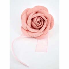 Λινό λουλούδι με κορδέλα ροζ 8εκ
