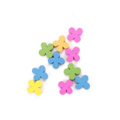 Μιξ ξύλινα λουλούδια πολύχρωμα 12mm 10τεμ