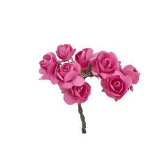 Λουλούδια χάρτινα κοραλί 12τεμ