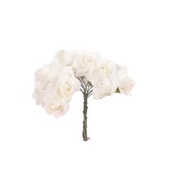 Λουλούδια χάρτινα λευκά 12τεμ