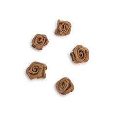 Λουλουδάκια σατέν αντικέ μπεζ 13mm 50τεμ