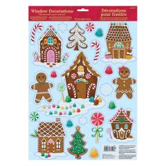 Χριστουγεννιάτικα αυτοκόλλητα για τζάμι Gingerbread House 15τμχ.