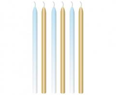 Κεριά Σιέλ και Χρυσό 7.5εκ.