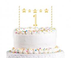 Σετ διακόσμησης τούρτας 1st Birthday Gold 2τεμ.