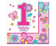 Χαρτοπετσέτες φαγητού Sweet 1st Birthday Girl 16τεμ.