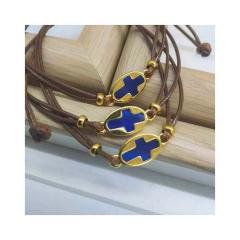 Μαρτυρικό βραχιόλι με επίχρυσο μπλε σταυρό
