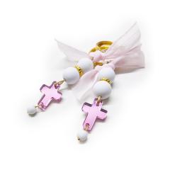 Μαρτυρικό μπρελόκ ροζ πλεξιγκλας σταυρό
