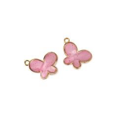 Πεταλούδα επισμαλτωμένη ροζ 14x17mm 10τεμ