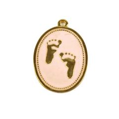 Μεταλλικό γούρι για νεογέννητο ροζ