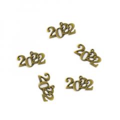 Μεταλλικό κρεμαστό 2022 μπρούτζινο 35x20mm 5τεμ