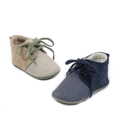 Δερμάτινο sneaker δίχρωμο δετό Babywalker