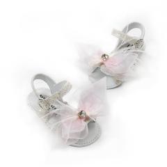 Glitter πέδιλο με χειροποίητο φιόγκο οργάντζας Babywalker