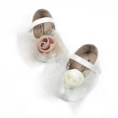 Γοβάκι με υφασμάτινο χειροποίητο λουλούδι & τούλι Babywalker