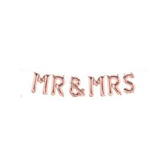 Μπαλόνι Γράμματα Mr & Mrs Ροζ Χρυσό