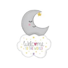 """Μπαλόνι φοιλ Σύννεφο & Φεγγάρι """"Welcome Baby"""" 107 εκ."""